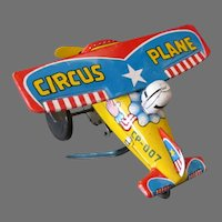 Vintage Japanese Tin Wind-up Circus Plane – Stunt Airplane Toy with Clown Pilot