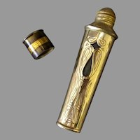 Vintage Faberge Perfume – Decorative Brass Over Glass Vial Bottle – Fabergette Roll-on
