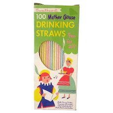 Vintage Mother Goose Paper Straws – Tommy Tucker & Mistress Mary – Colored Straws