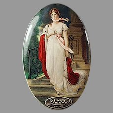Vintage Celluloid Advertising Mirror - Attractive Graphics for Queen Quality Shoes
