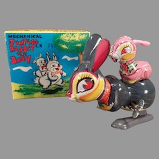 Vintage Wind-up Jumping Rabbit with Bunny Baby Boxed Toy – See on Facebook