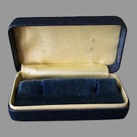 Vintage Earring or Cuff Links Box – Dark Blue with Gold Trim Jewelry Display