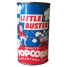 Vintage Popcorn Tin - Unopened Little Buster Pop Corn from Illinois