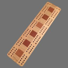Vintage Cribbage Game Board Made with Multi-Colored Woods