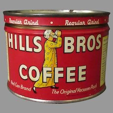Vintage Coffee Can - Half Pound Hills Bros. Key Wind Tin