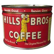 Vintage Coffee Can - Half Pound Hills Bros. Key Wind Tin