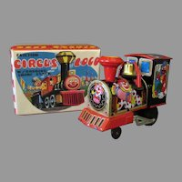 Vintage Friction Tin Toy - Circus Loco Train with Colorful Original Box