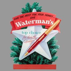 Vintage Cardboard Countertop Easel Sign for Waterman's Fountain Pen - Christmas Advertising