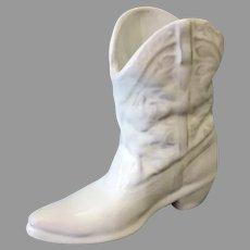 Vintage Frankoma - Miniature Boot Vase in White Glaze