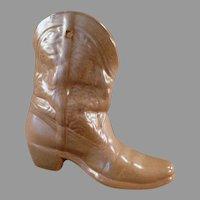 Vintage Frankoma Pottery #133 Boot Vase Wall Pocket - Brown Satin Glaze