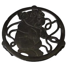 Vintage Cast Iron Trivet - Bonzo the Funny Cartoon Character Dog