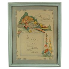 Framed Vintage Motto Print Love to Mother Poem