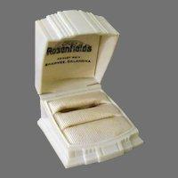 Vintage Presentation Ring Box – Cream Colored Early Plastic, Decorative Deco Design, Two Rings