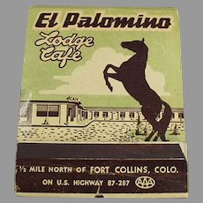 Over Sized Vintage Advertising Match Book - Large El Palomino Lodge Matchbook