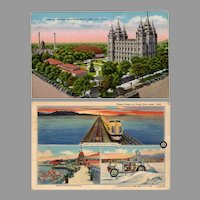 Two Vintage Souvenir Postcards with Views of Salt Lake City including the Mormon Temple
