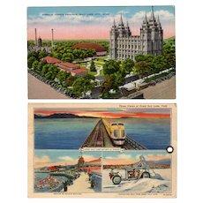 Two Vintage Souvenir Postcards with Views of Salt Lake City including the Mormon Temple