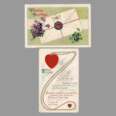 2 Vintage Valentine Postcards from the Early 1900's