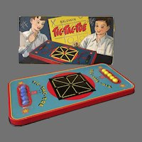 Vintage Baldwin Tic-Tac-Toe Tin Marble Game with Colorful Original Toy Box
