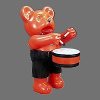 Vintage Colorful Japanese Celluloid Drumming Bear Wind-up Toy