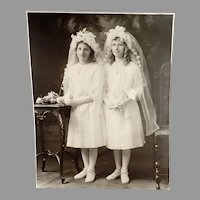 Vintage Large Format Photograph - Two Young Girls in Communion Dresses ca 1900