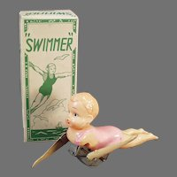 Vintage Celluloid Swimming Wind-up Toy - Swimmer in Pink with Original Box