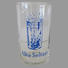 Vintage Alka-Seltzer Advertising Glass with Effervescent Graphics