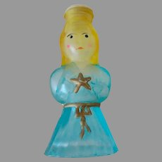 Vintage Frosted and Painted Chritmas Ornament Light Bulb Cover – Blue Angel