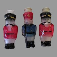 Three Vintage Nutcracker Christmas Ornaments - 3 Frosted and Painted Light Bulb Covers