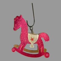 Vintage Christmas Tree Ornament with Venetian Dew - Pink Rocking Horse