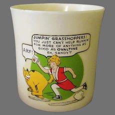 Vintage Orphan Annie and Sandy Beetleware Ovaltine Mug – Unusual Jumpin' Grasshoppers! Phrase