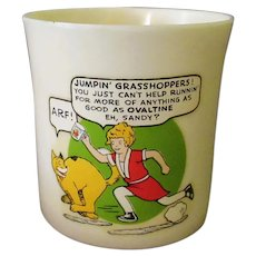 Vintage Orphan Annie and Sandy Beetleware Ovaltine Mug – Unusual Jumpin' Grasshoppers! Phrase