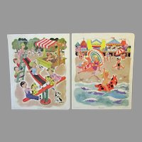 Two (2) Vintage Playskool Tray Picture Puzzles - Playground and Beach Scenes