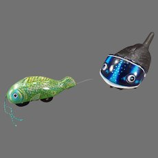 Vintage Pull String Tin Toy – Whale Swallowing a Little Fish – Japanese Toy