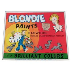 Vintage Blondie and Dagwood Comic Characters Water Color Paint Set Tin