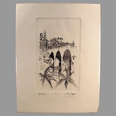 Artist Signed and Numbered Print of San Diego's Balboa Park Bell Tower, Cabrillo Bridge