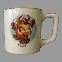 Vintage Borden's Cow Advertising Mug - Elsie Milk Cup