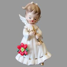 Vintage Holiday Angel with Gold Horn and Christmas Poinsettia