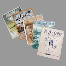 Five Pieces of Vintage Sheet Music – 5 Different Songs and Graphics