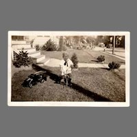1920's Vintage Photograph with Boy on Tricycle and Keystone Pressed Steel Toy Truck