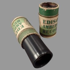 Two (2) Vintage Edison Wax Cylinder Phonograph Records - Amberols with Vocalist Collins
