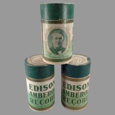 Three (3) Vintage Wax Edison Amberol Cylinder Phonograph Records with Original Boxes