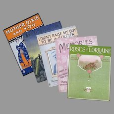 Five Pieces of Vintage Sheet Music – 5 Different Songs, Some Related to War