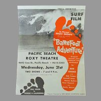 Vintage 1960's Surfing Memorabilia – Original Bruce Brown Barefoot Adventure Surf Film Handbill