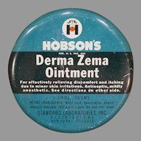 Vintage Hobson's Derma Zema Ointment Medicine Tin – Empty,  Medical Advertising