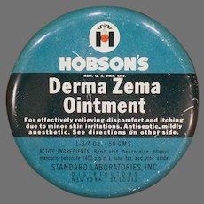 Vintage Hobson's Derma Zema Ointment Medicine Tin – Empty,  Medical Advertising