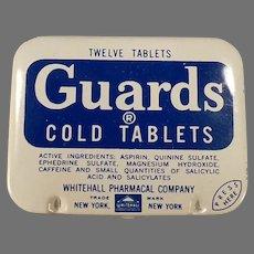 Vintage Aspirin Tin - Guards Cold Tablets Medicine Tin - Old Medical Advertising