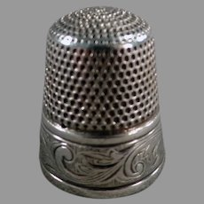 Vintage Simons Bros. Sterling Silver Sewing Thimble with Nice Art Nouveau Design