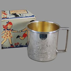 """Vintage Child's Cup - 1881 Rogers Silver Plate Engraved """"Douglas"""" with Original Gift Box"""