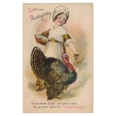 Vintage Thanksgiving Postcard - Pilgrim Girl and Plump Turkey