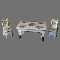 Vintage Miniature Bone China Table and Chair Set with Floral Design